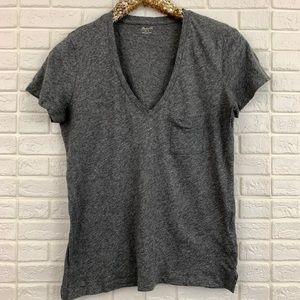 Madewell whisper cotton v-neck pocket tee gray top